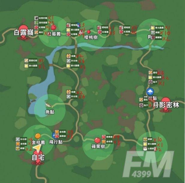 小森生活朝晖森林资源分布图 朝晖森林资源地图